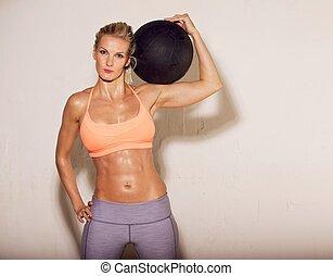 hombro, atleta, pelota, ella, sudoroso