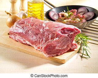 hombro, cerdo, cuadrado, crudo, corte, hueso