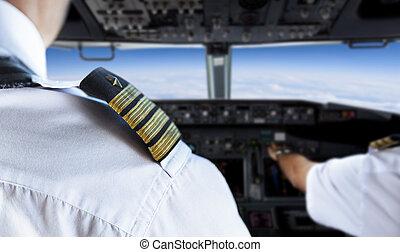 hombro, dorado, insignia, piloto