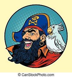 hombro, el suyo, pirata, loro, feliz
