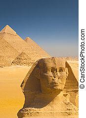 hombro, esfinge, cara, cuatro, pirámides, cierre