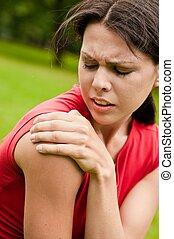 hombro, lesión, -, deportista, en el dolor