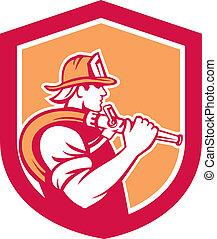 hombro, manguera, protector, bombero, fuego, bombero, tenencia