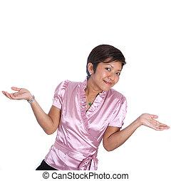 hombro, mujer de negocios, doubt., joven, asiático, encogimiento, gesto