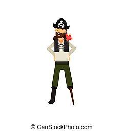 hombro, plano, barbudo, loro, pierna, de madera, carácter, caricatura, alegre, capitán, pirata, rojo