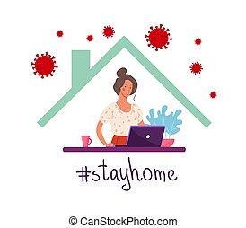 home., ポスター, illustration., 家, 技術, デジタル, インターネット, computer., 幸せ, ベクトル, 概念, 滞在, 仕事, 平ら, 使うこと, remotely, epidemic., coronavirus, の間, 女