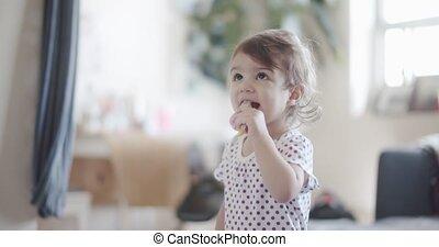 home., 1-year, meisje, toddler, oud, schattig