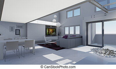 3d design of modern home appartment indoor