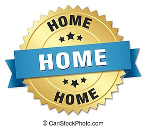 home 3d gold badge with blue ribbon