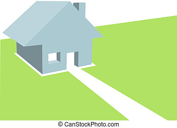 Home - a simple clean 3D illustration of a Residential House on Copyspace - using 5 colors, no gradients.