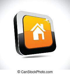Home 3d square button.