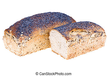 Home a loaf of rye bread with seeds and poppy seeds