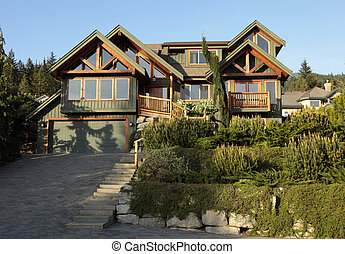 A new home typical of western canadian architecture.