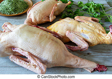 Home a plucked chicken, goose