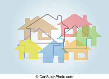 Home Abstract House Shapes Houses Background - A background...