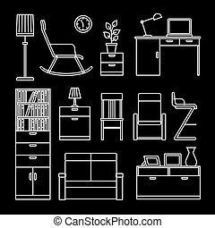 Home accessories and furniture icons