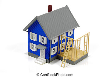 Home Addition 2 - Miniature House With Wood Frame Addition. ...