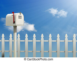 Home Address - A Mail Box against a Blue Sky and white...