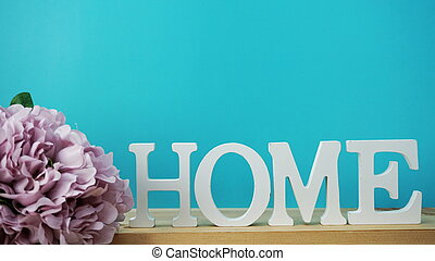 home alphabet letter with space background