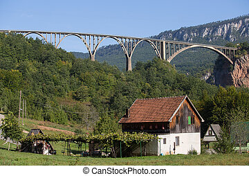 Home and bridge over the Tara River in northern Montenegro