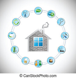 home and circle with tools illustration design