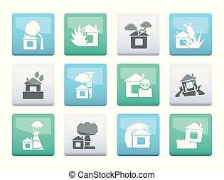 home and house insurance and risk icons over color...