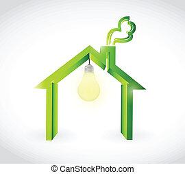 home and light bulb illustration design over a white ...