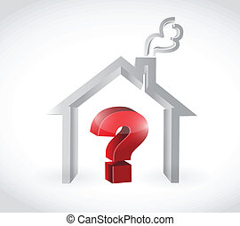 home and question mark illustration design