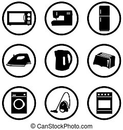 Home appliance black and white icons set