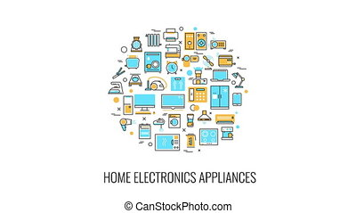 Home appliances and electronic devices emblem animation -...