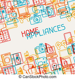 Home appliances and electronics background.