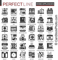 Home appliances classic black mini concept symbols. Household modern icon pictogram vector illustrations set.