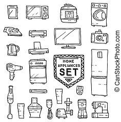 Home appliances doodle set. Vector illustration. Household...