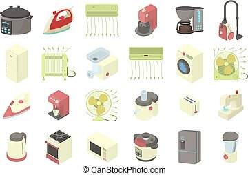 Home appliances icon set, cartoon style