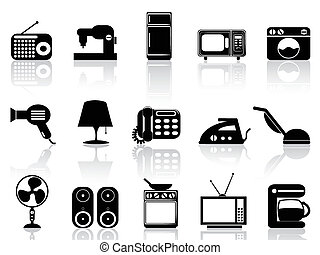 Home appliances icon set - isolated black Home appliances...