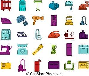 Home appliances icon set, color outline style
