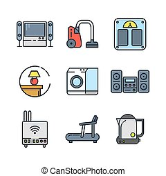 home appliances icon set color