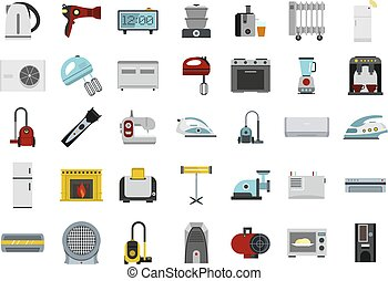 Home appliances icon set, flat style