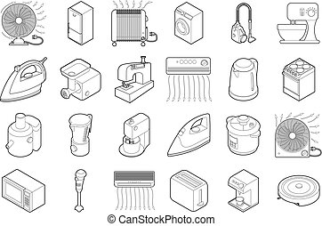 Home appliances icon set, outline style