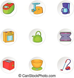 Home appliances icons set, cartoon style