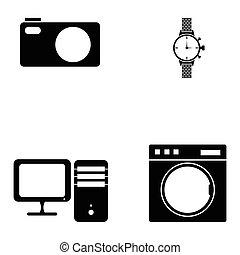 home appliances icons set
