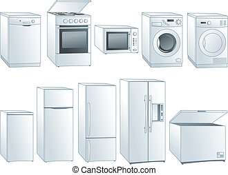 Home appliances illustrations set - Kitchen home appliances:...