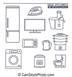 Home appliances. Line icons.
