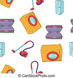Home appliances pattern, cartoon style