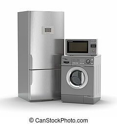 Home appliances. Refrigerator, microwave and washing...