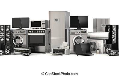 Home appliances. Seamless pattern. Cooker, tv cinema, ...