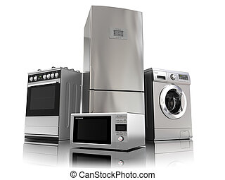 Home appliances. Set of household kitchen technics isolated ...