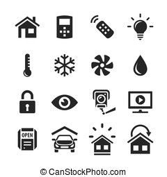 Home Automation Control Systems Icons - Smart Home and Smart...