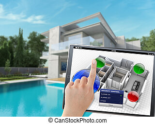 Home Automation system - 3D rendering of a villa being...