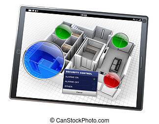 Home Automation system app - 3D rendering of a tablet with a...